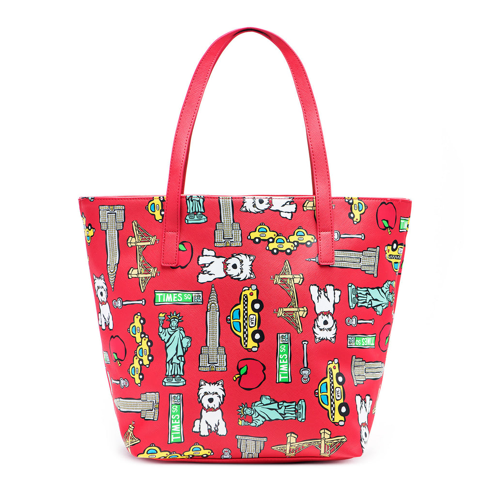 NYC Pattern on Red Tote Bag with Dangle