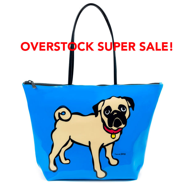 SALE! Pug on Blue Zip Tote