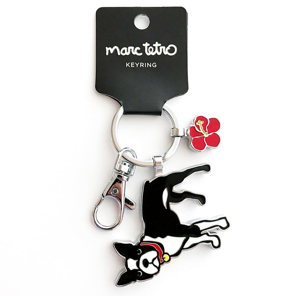 SALE! Boston Terrier with Flower Keyring