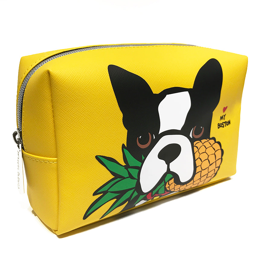 SALE! Boston Terrier with Pineapple Cosmetic Case - Large