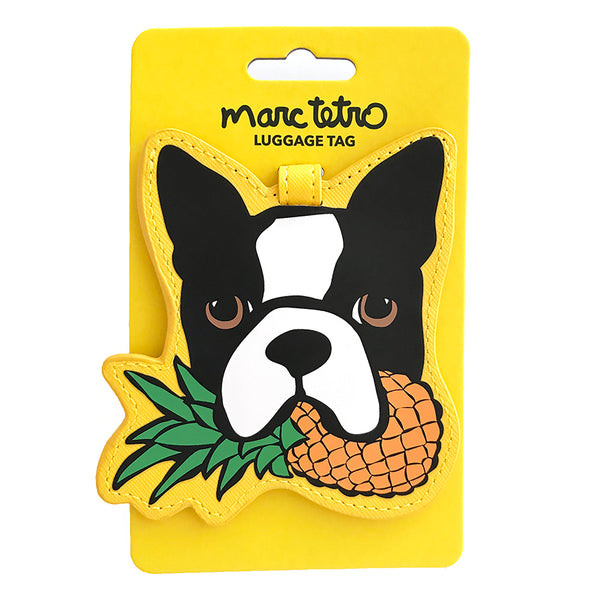 Boston Terrier with Pineapple Luggage Tag