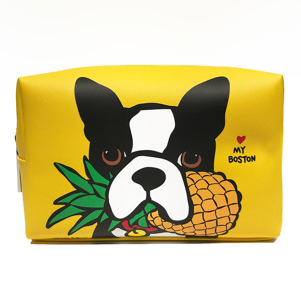 Boston Terrier with Pineapple Cosmetic Case - Large