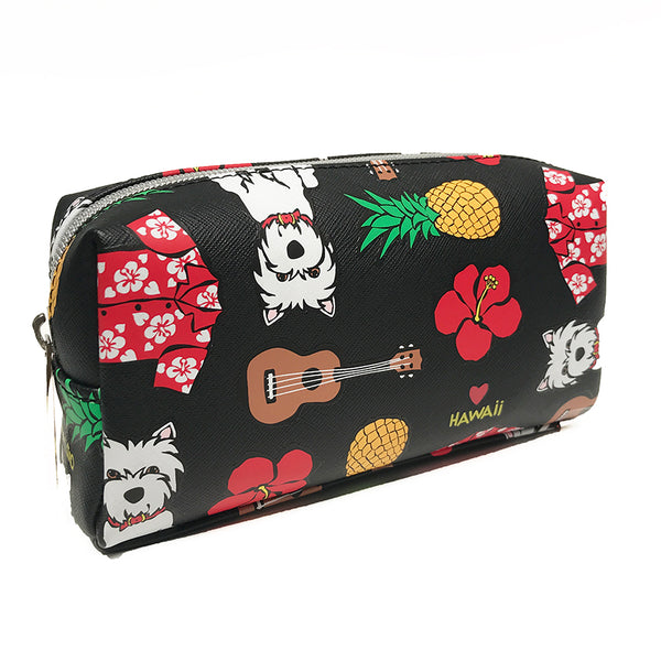 SALE! Floral Pattern on Black Cosmetic Case - Small