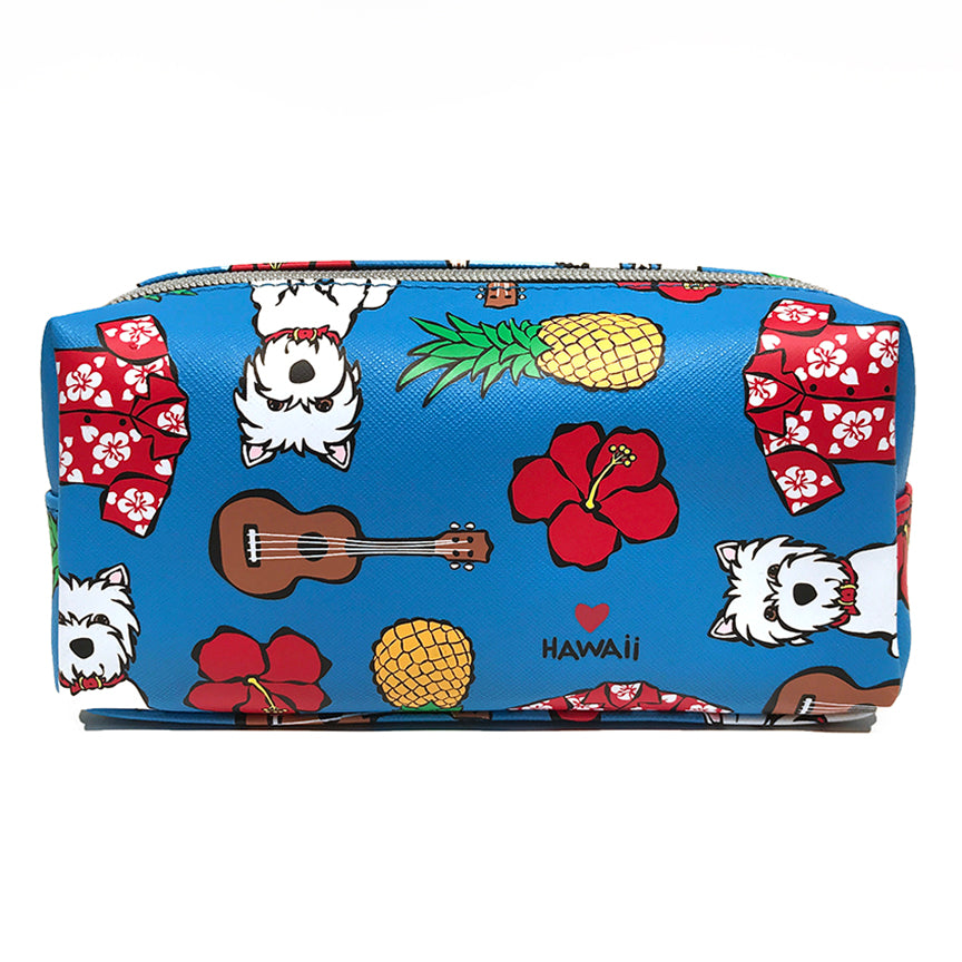 Floral Pattern on Blue Cosmetic Case - Small