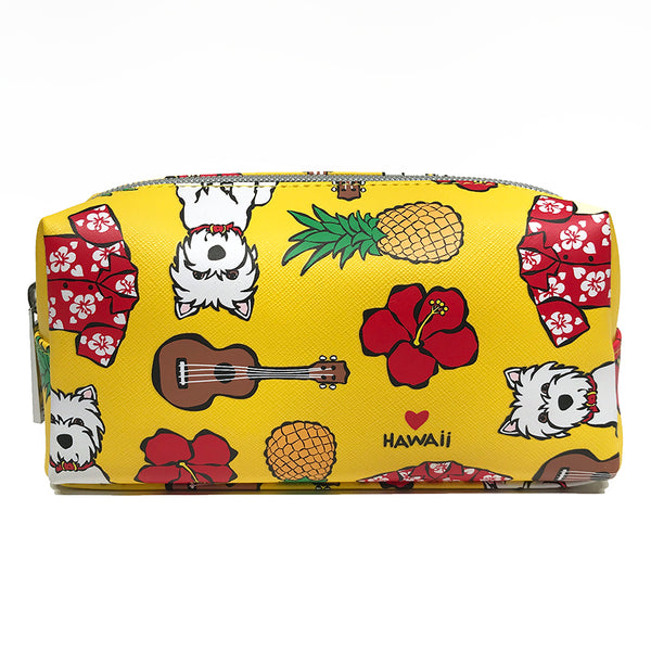 SALE! Floral Pattern on Yellow Cosmetic Case - Small