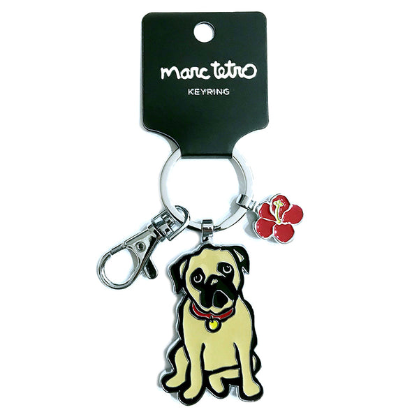 SALE! Pug with Flower Keyring
