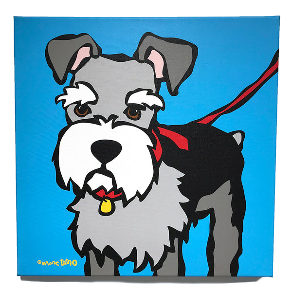 SALE! Schnauzer with Red Leash Canvas