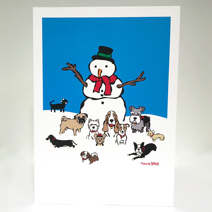 SALE! Snowman with Dogs Holiday Card