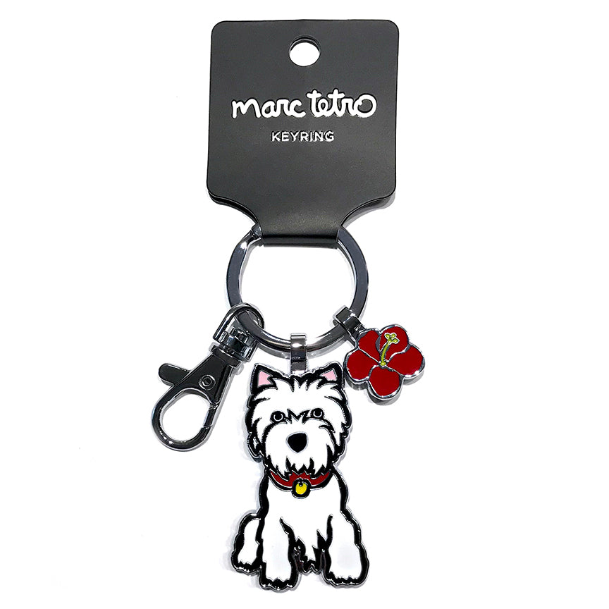 SALE! Westie with Flower Keyring