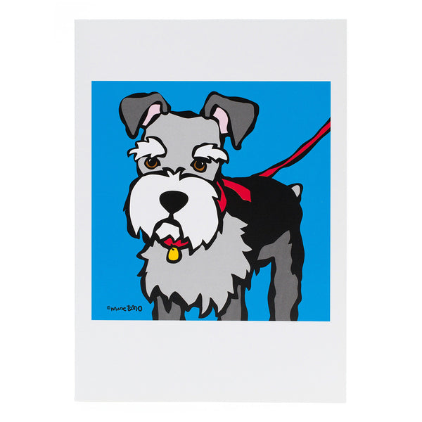 Schnauzer with Red Leash Greeting Card