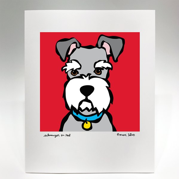 Schnauzer on Red Print