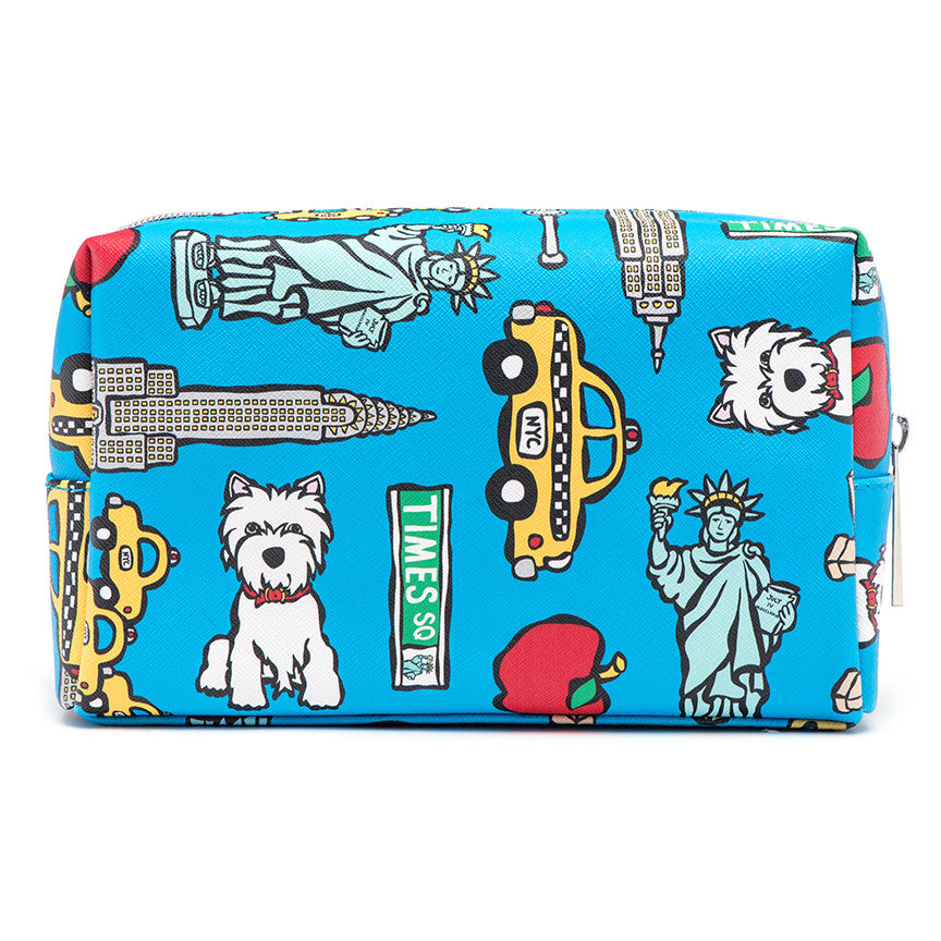 NYC Pattern on Blue Cosmetic Case - Large
