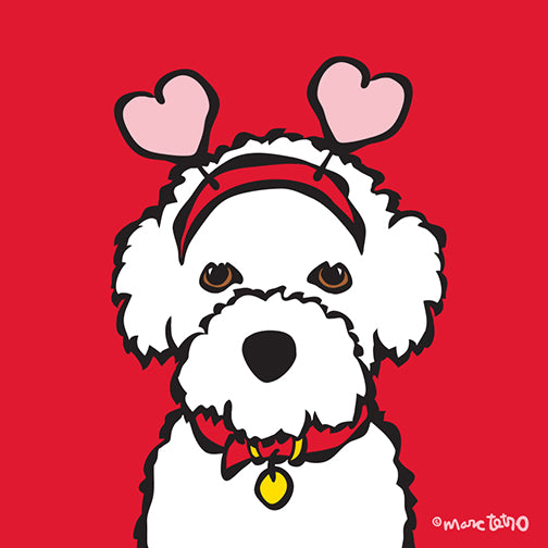 NEW! Valentine's Day Bichon Print