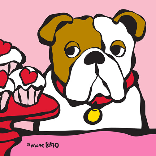 NEW! Valentine's Day Bulldog Print
