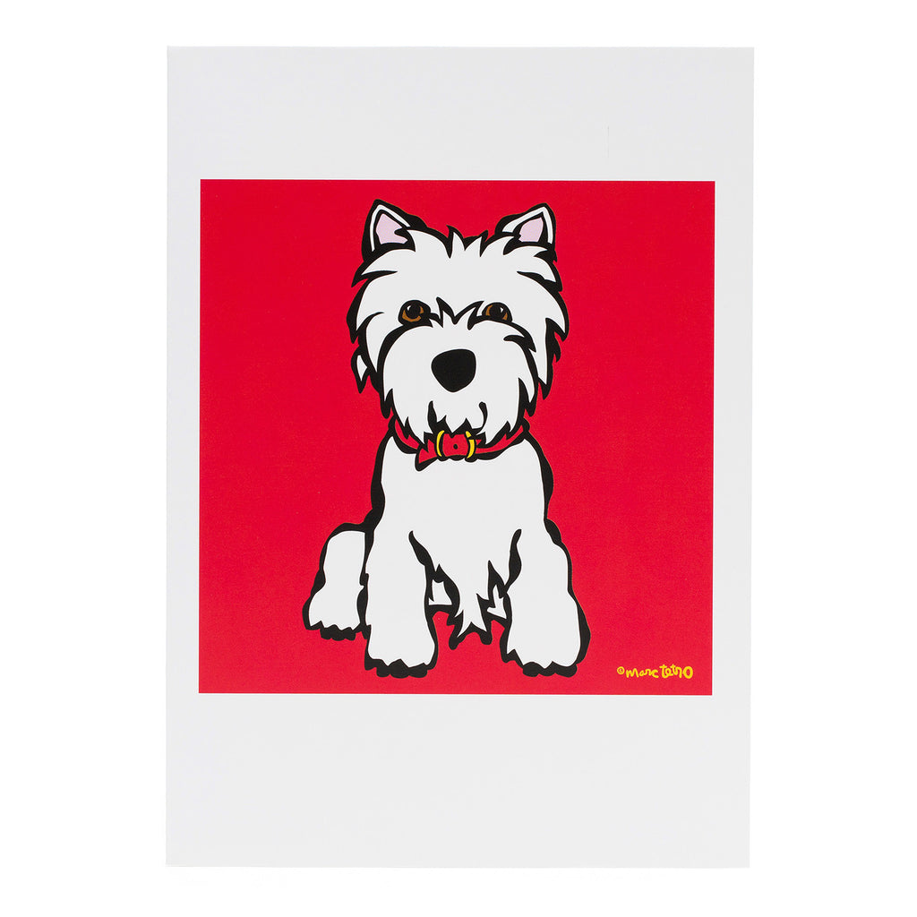 Westie on Red Greeting Card