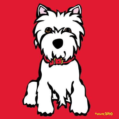 Westie on Red Print