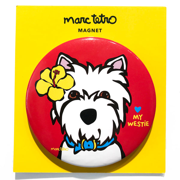SALE! Westie with Flower Magnet