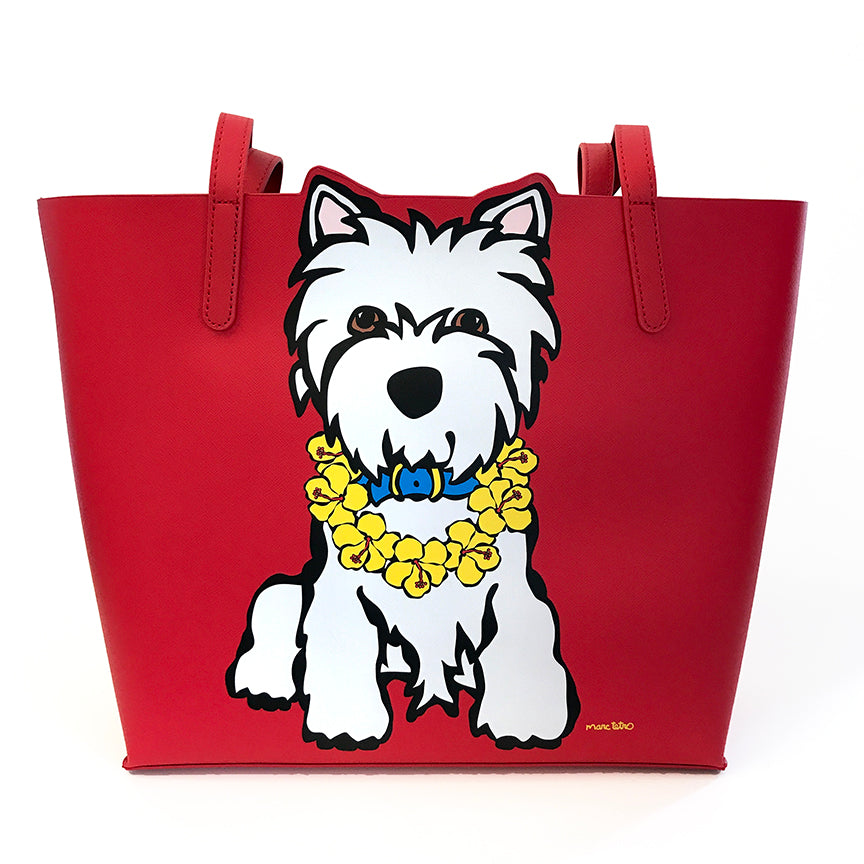 Westie with Lei Tote Bag
