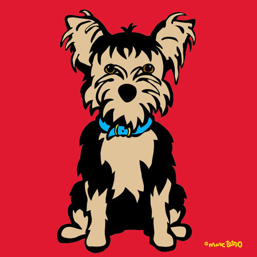 Yorkie on Red Print