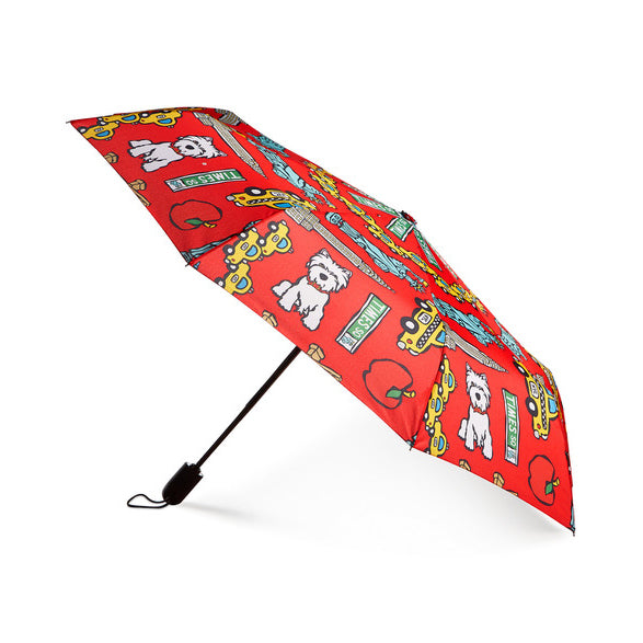 NYC Pattern on Red Umbrella