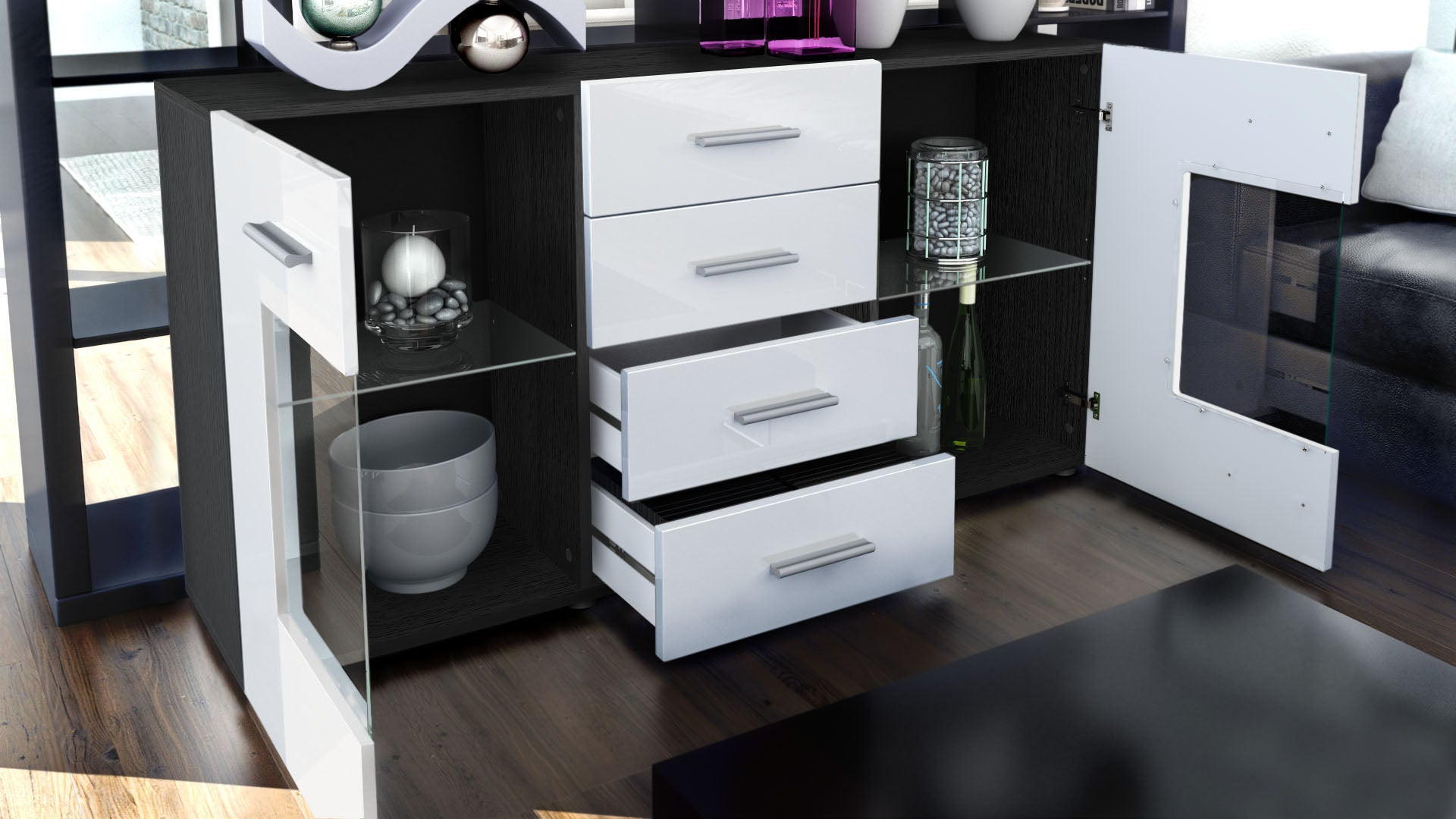 Black high gloss modern sideboard cupboard unit for Sideboard offen