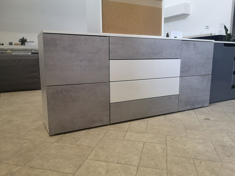 Sideboard Rova In White Matt With Concrete Design
