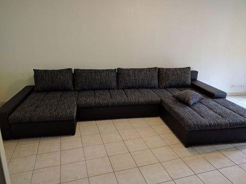"U-Shape Sectional ""Boston"" in Black PU Leather / Black Fabric + Bed Function/Storage"