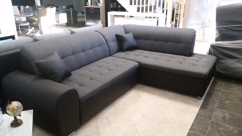 "Sectional ""Edard BR"" in Black PU Leather / Dark Grey Fabric + Bed Function"