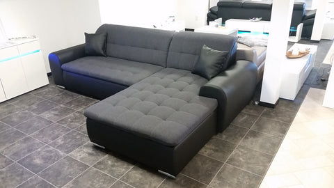 "Sectional ""Edard"" in Black PU Leather and Grey Fabric + Bed Function/Ottoman"