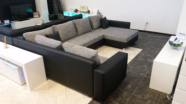 U Shape Sectional Quot Olga Quot In Black Pu Leather And Grey