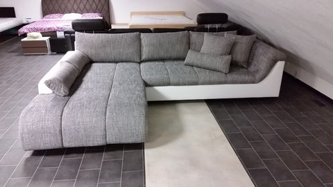 "Sectional ""Blanca"" in White PU Leather / Grey Fabric"