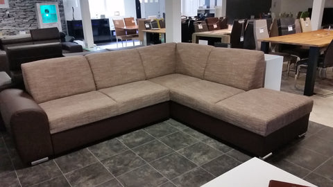 "Sectional ""Mila"" in Brown PU Leather / Cappuccino Fabric + Bed Function"