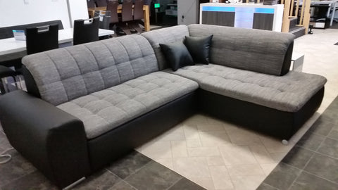 "Sectional ""Edard BR"" in Black PU Leather / Grey Fabric + Bed Function"