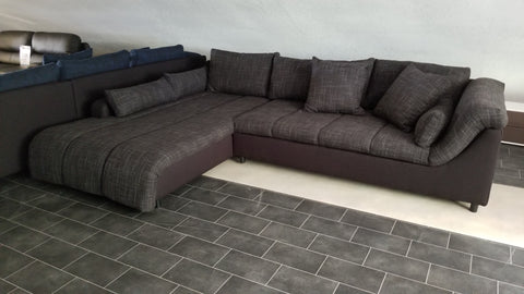 "Sectional ""Blanca"" in Black Fabric / Black-Grey Fabric"