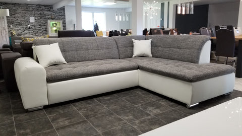 "Sectional ""Edard BR"" in White PU Leather / Grey Fabric + Bed Function"