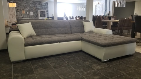 "Sectional ""Edard"" in White PU Leather / Grey Fabric + Bed Function/Ottoman"