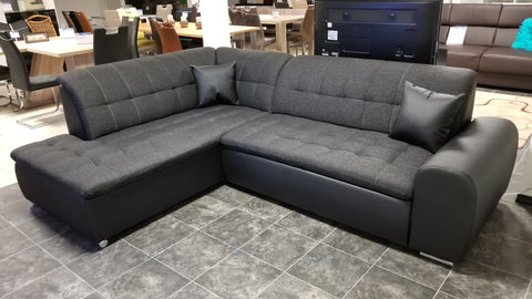 "Sectional ""Edard BR"" in Black PU Leather / Black Fabric + Bed Function"