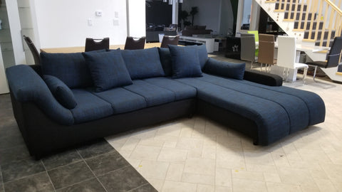 "Sectional ""Blanca"" in Black Fabric / Black-Blue Fabric"