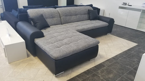 "Sectional ""Edard"" in Black PU Leather / Grey Fabric + Bed Function"