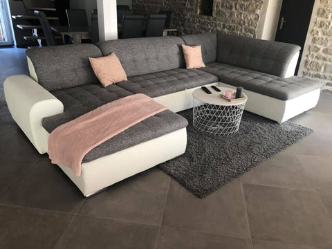 "U-Shape Sectional ""Edard"" in White PU Leather and Grey Fabric + Bed Function/Ottoman"