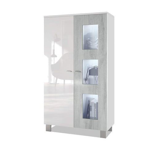 "OPEN BOX - Storage Cabinet ""Denjo"" in White / Concrete Oxid"