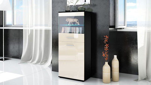 "Open Box - Display Cabinet ""Almada"" in Black Matt / Cream High Gloss"