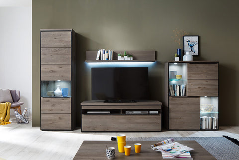 "Modern Knotty Oak Wall Unit ""Avignon"" in Stone Grey Finish"