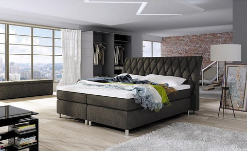 "Box Spring Bed ""Glamour"" in Leather-look Fabric"