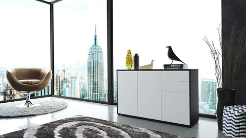 "OPEN BOX - Storage Cabinet ""Ben V3"" in Black MT/ White Matt"