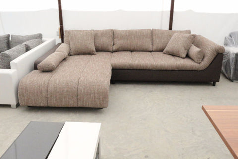"Sectional ""Blanca"" in Brown PU Leather / Cappuccino Fabric"
