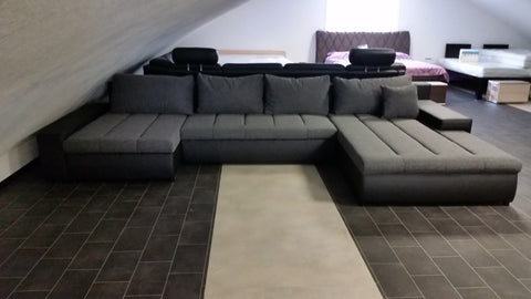 "U-Shape Sectional ""Boston"" in Black PU Leather / Dark Grey Fabric + Bed Function/Storage"