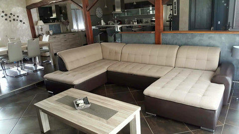 "U-Shape Sectional ""Edard"" in Brown PU Leather and Beige Fabric + Bed Function/Ottoman"