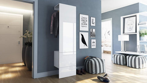 "OPEN BOX - Wardrobe ""Carlton V5"" in White / White High Gloss"