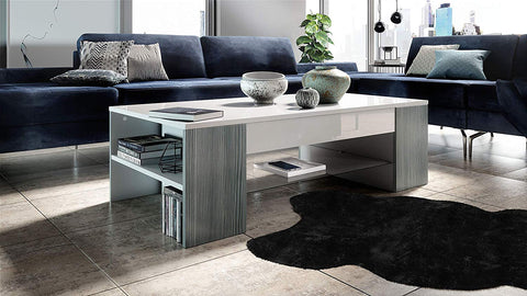 "Open Box - Coffee Table ""Clip"" in White / Avola Anthracite"